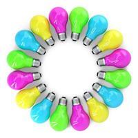 Ilustração 3D de lâmpadas coloridas emolduradas isoladas no branco foto