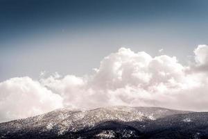floresta coberta de neve com paisagem montanhosa foto