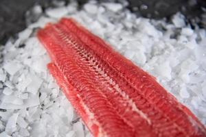 bife de peixe fresco cru no gelo sobre fundo de pedra escura foto
