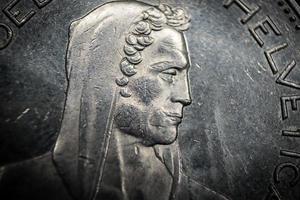 suíça 2016 - close-up da moeda william tell