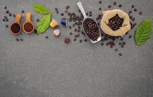 grãos de café e espaço de cópia