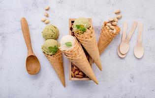 sorvete de pistache e matcha foto