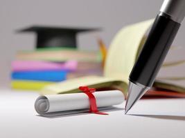 Renderização 3D de livro e lápis