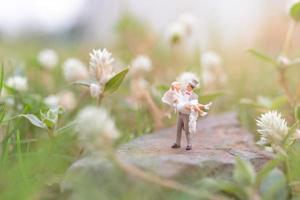 casal em miniatura no jardim, conceito do dia dos namorados foto