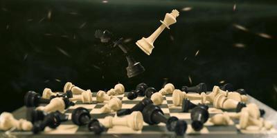 Ilustração 3D de um jogo de tabuleiro de xadrez, conceito de batalha pela vitória