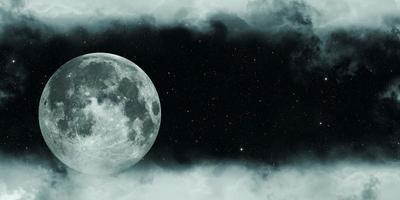 lua cheia em uma noite nublada, ilustração 3D