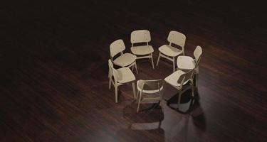 Ilustração 3D de cadeiras vazias preparadas para terapia de grupo foto