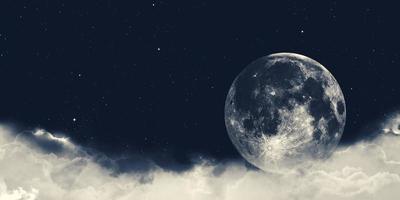 Ilustração 3D de uma lua cheia em uma noite nublada