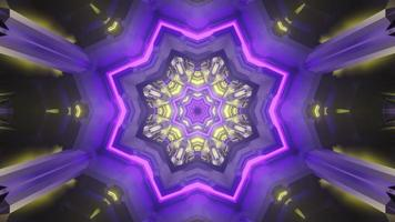 túnel em forma de estrela brilhante com ilustração 3D de luzes de néon