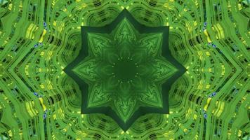 ilustração 3D do ornamento do caleidoscópio em forma de estrela brilhante