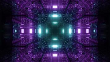 ilustração em 3D brilhante néon cruzado