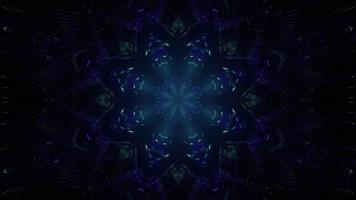Ilustração 3D do padrão de caleidoscópio de néon na escuridão