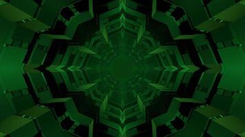 Ilustração 3D de padrões geométricos em forma de estrela verde