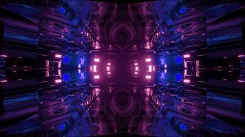 iluminação de néon futurista em ilustração 3d do túnel escuro