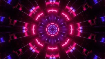 Ilustração 3D de luzes de néon multicoloridas como fundo do caleidoscópio