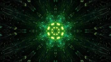 Ilustração 3D de raios de luz verde como fundo do caleidoscópio