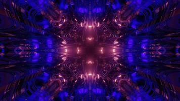túnel fractal com luzes brilhantes ilustração 3D