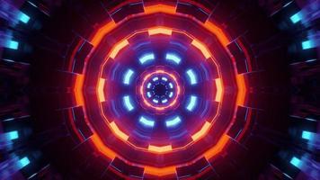 ilustração 3d abstrata de círculos brilhantes de néon foto