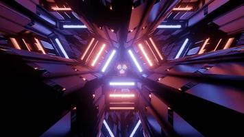 Ilustração 3D da luz de néon refletindo em linhas de labirinto brilhantes foto
