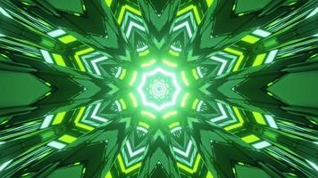 Ilustração 3D do padrão de caleidoscópio verde e amarelo com iluminação brilhante