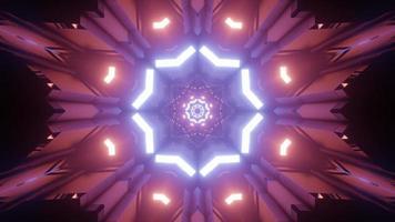 estrela de néon brilhante com ornamentos geométricos ilustração 3D
