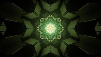 corredor futurista em forma de estrela com iluminação de néon ilustração 3D