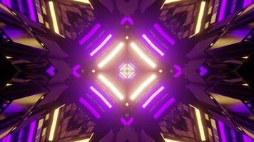 fundo geométrico com luzes de néon na ilustração 3D