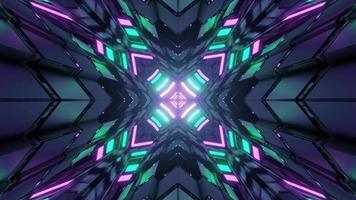 fundo abstrato de megapolis futurista com iluminação de néon em ilustração 3D