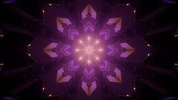 Ilustração 3D do padrão geométrico do caleidoscópio em loop no túnel escuro