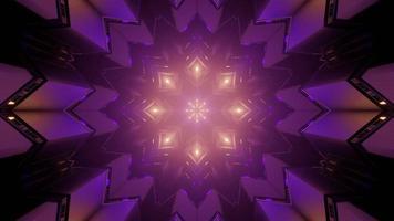 Ilustração 3D de luzes roxas refletindo em figuras geométricas de padrão ornamental foto