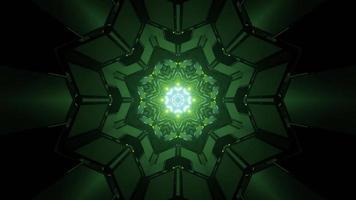 Ilustração 3D do labirinto simétrico com fundo abstrato fórmico com luz verde