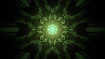 Ilustração 3D de fundo ornamental com luz de néon verde na escuridão