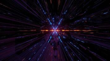 linhas de néon brilhantes em túnel escuro na ilustração 3D foto