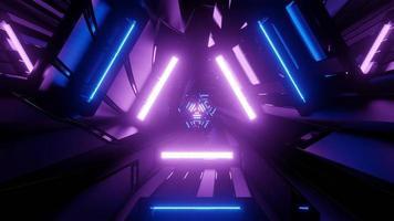Ilustração 3D de luzes de néon futuristas na escuridão como pano de fundo abstrato