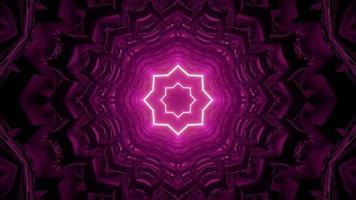ilustração 3D ornamento em forma de estrela de néon