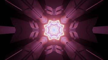 túnel de ficção científica iluminado com ilustração 3D de ornamento de estrela brilhante