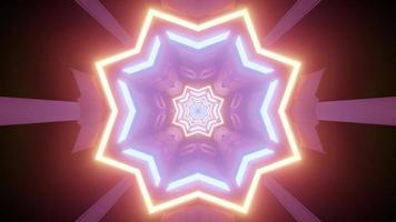 Padrão em forma de estrela brilhante com ilustração 3D de luzes coloridas
