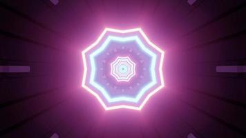 Buracos em forma de estrela brilhante do túnel futurista ilustração 3D