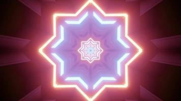 ilustração 3d de padrão de estrela octogonal colorida neon