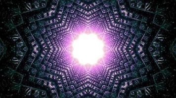Túnel em forma de estrela mágica com ilustração 3D de buraco brilhante