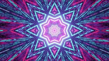 Ilustração 3d do fundo abstrato em forma de estrela do caleidoscópio