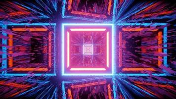 fundo geométrico abstrato com traços de luzes de néon ilustração 3D