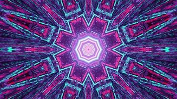 Ilustração 3D de fundo geométrico com luzes brilhantes simétricas
