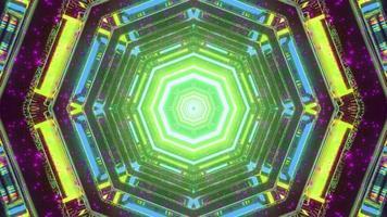 Ilustração 3D de padrão gráfico abstrato com iluminação em forma de hexágono foto