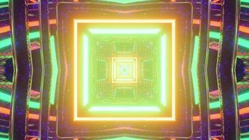 Ilustração 3D de fundo abstrato simétrico em forma de quadrado
