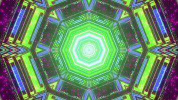 Ilustração 3D de formas geométricas criativas formando um fundo abstrato de néon brilhante