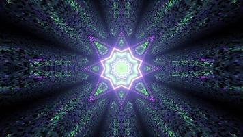 Ilustração 3D de um ornamento em forma de estrela brilhando em um túnel escuro com paredes de azulejos