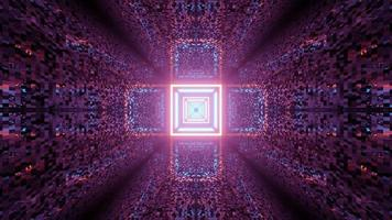 Ilustração 3D de um padrão geométrico em forma de cruz com luzes de néon