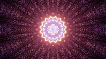Ilustração 3D de estrela abstrata multifacetada em túnel colorido