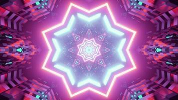 ilustração 3d do túnel em forma de estrela de néon roxo